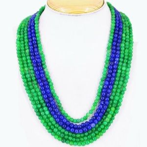 620.00 Cts Earth Mined Emerald & Sapphire Necklace